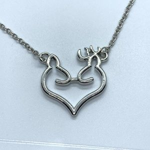 Women's Elk Deer Love Heart Pendant Necklace